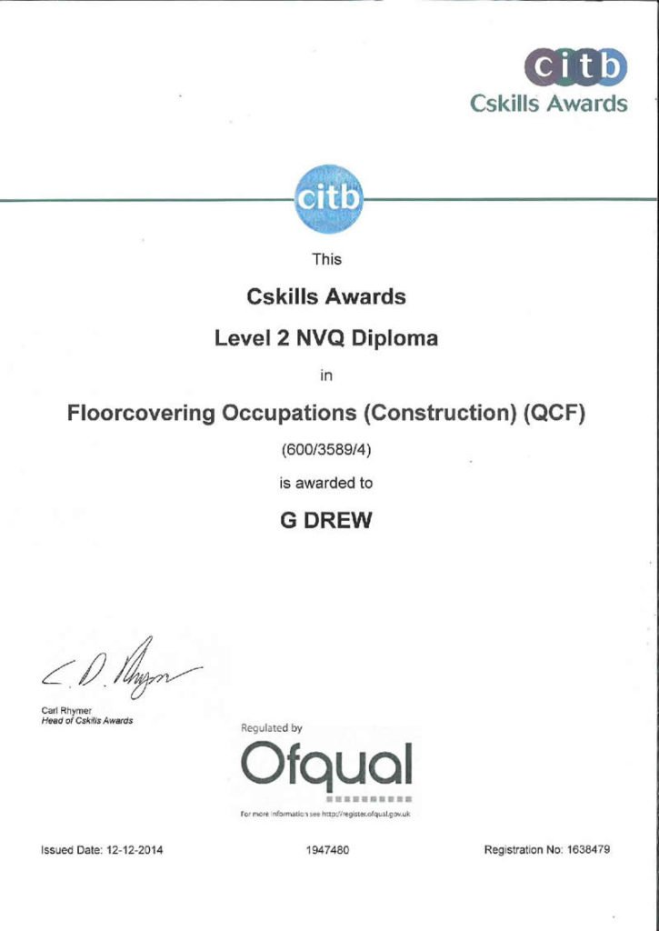 CITB Level 2 NVQ - Diploma In Floorcovering
