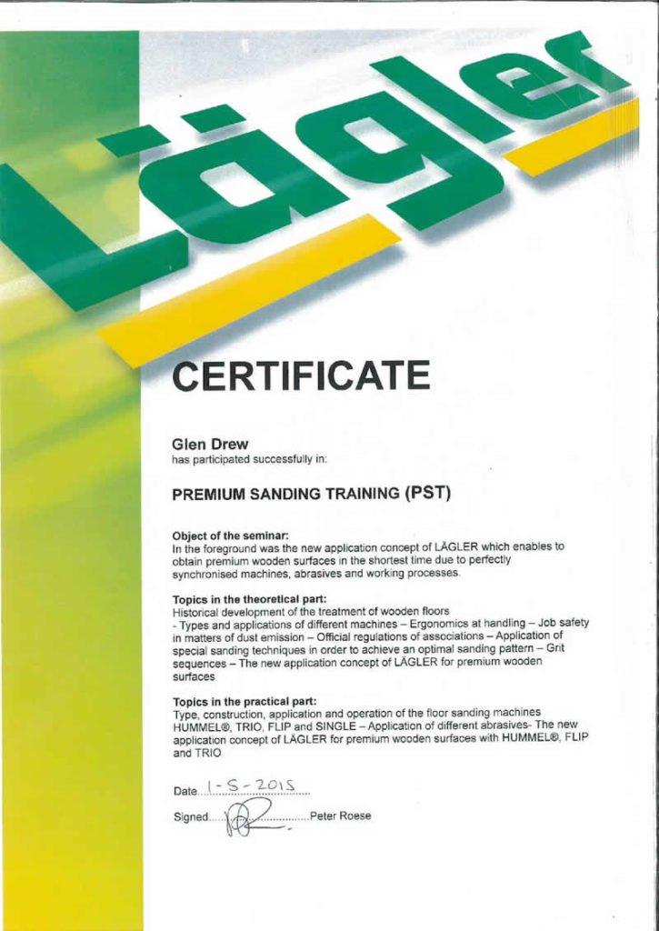 Lagler Certification Premium Sanding Training