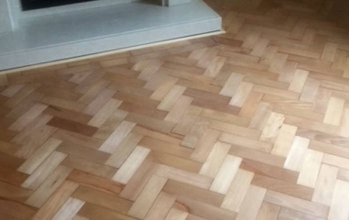 Pine herringbone blocks sanded sealed in Bicester